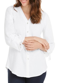 Foxcroft Marley Gauze Button-Back Shirt