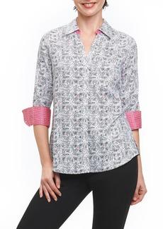 Foxcroft Mary Circle Tile Wrinkle Free Shirt