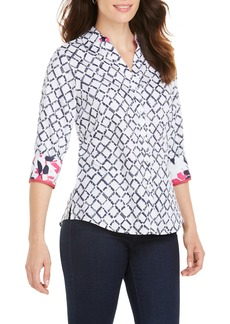 Foxcroft Mary Diamond Lattice Wrinkle Free Shirt