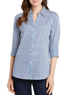 Foxcroft Mary Dotted Button-Down Top