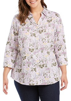 Foxcroft Mary Floral Print Shirt (Plus Size)