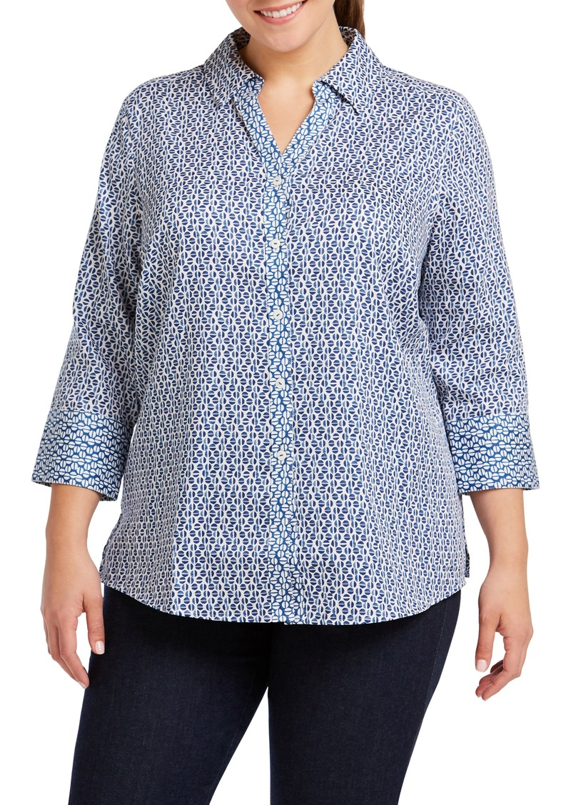 cd573388e5b9c Foxcroft Foxcroft Mary Graphic Dot Combo Shirt (Plus Size)