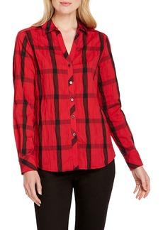 Foxcroft Mary in Crinkle Windowpane Shirt