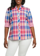 Foxcroft Mary Madras Plaid Shirt (Plus Size)