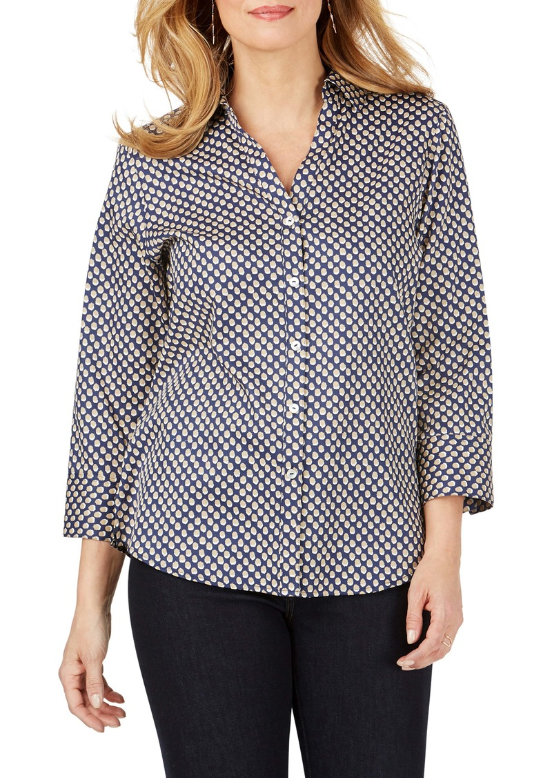 Foxcroft Mary Shadow Dot Wrinkle-Free Sateen Shirt