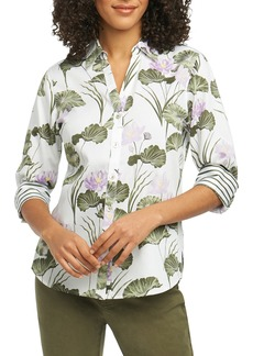 Foxcroft Mary Water Lily Combo Print Shirt