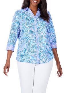 Foxcroft Mary Wild Zebra Cotton Sateen Non-Iron Shirt (Plus Size)
