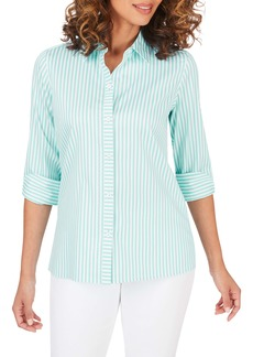 Foxcroft Morgan Stripe Non-Iron Button-Up Cotton Blend Shirt