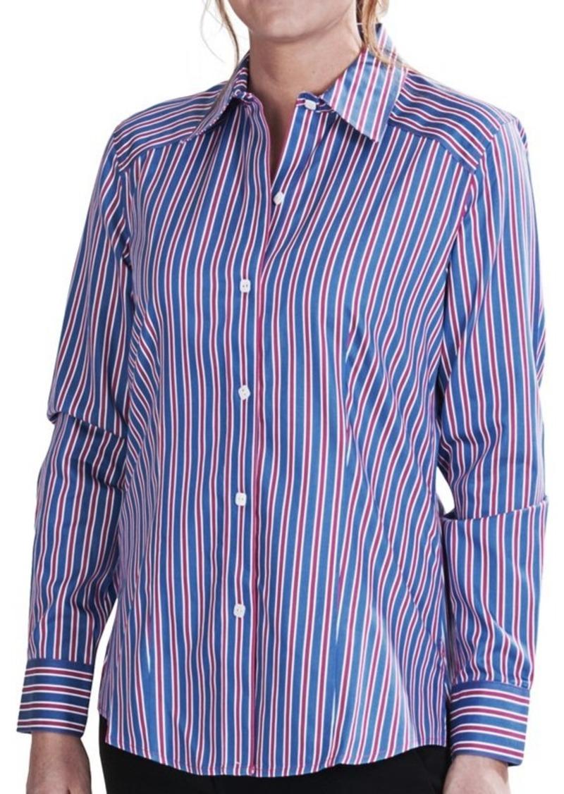 Foxcroft foxcroft multi stripe fitted shirt no iron for No iron white shirt womens