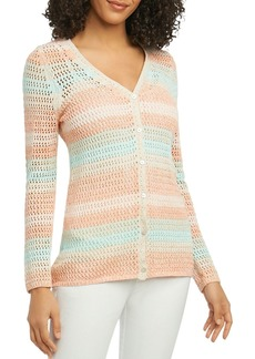 Foxcroft Multi-Stripe Open-Stitch Cardigan