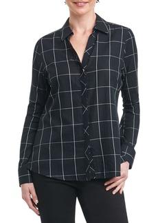 Foxcroft Nicole Windowpane Print Shirt (Regular & Petite)