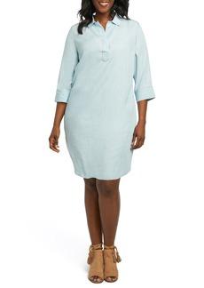 Foxcroft Nicolette Chambray Shift Dress (Plus Size)