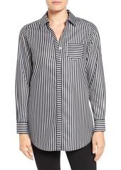 Foxcroft Non-Iron Sateen Stripe Cotton Shirt