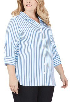 Foxcroft Pandora Essential Stripe Button-Up Tunic Shirt (Plus Size)