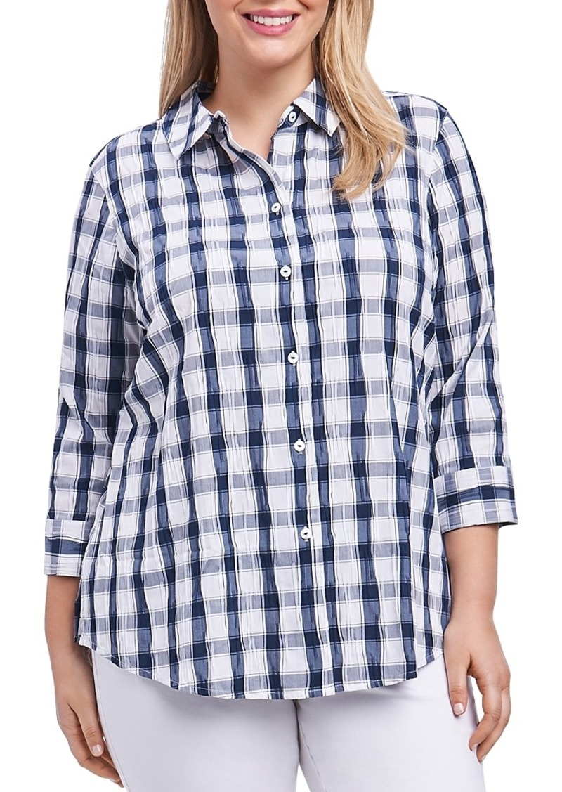0605a8cc47c Foxcroft Foxcroft Plus Check Crinkle Shirt