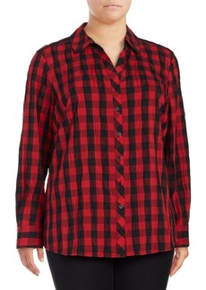 Foxcroft Plus Checkered Button-Down Shirt