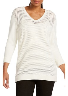 Foxcroft Presley Perforated Stitch Sweater