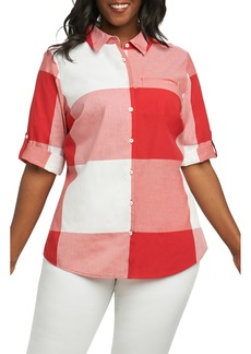 Foxcroft Reese Gingham Shirt (Plus Size)
