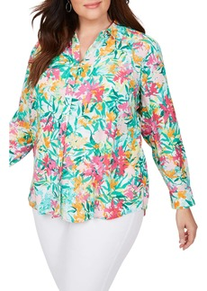 Foxcroft Rhea Abstract Floral Long Sleeve Shirt (Plus Size)