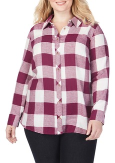 Foxcroft Rhea Buffalo Check Brushed Cotton Blend Shirt (Plus Size)