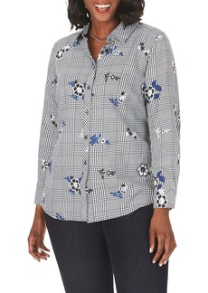 Foxcroft Rhea Embroidered Glen Plaid Shirt (Plus Size)