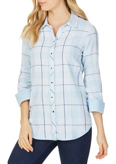 Foxcroft Rhea Reversible Dual Pattern Plaid Cotton Shirt