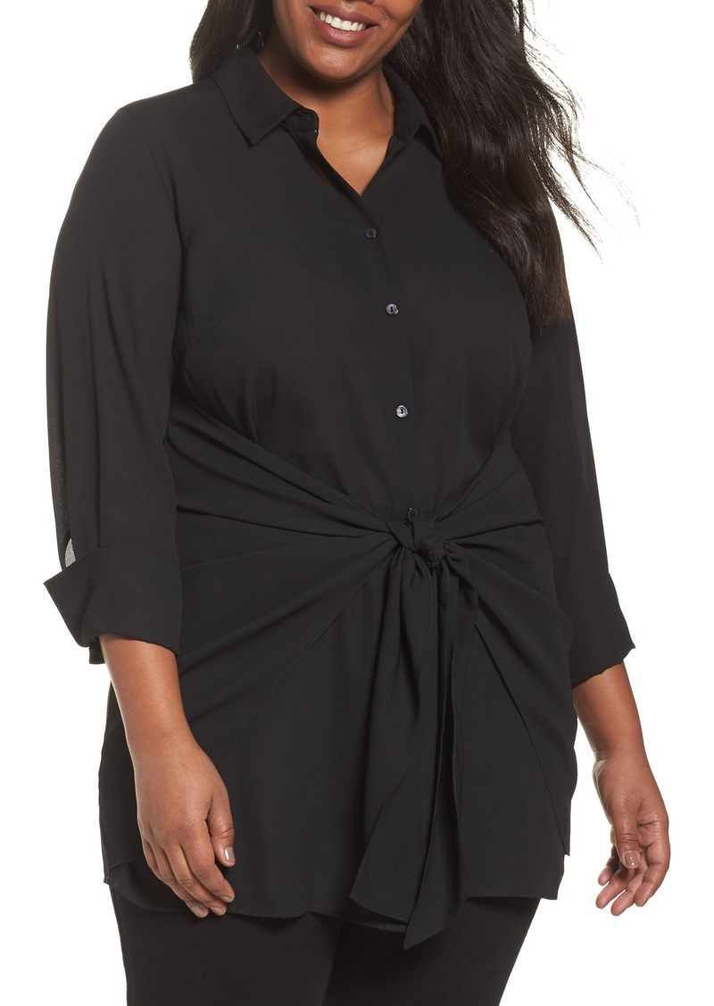 Foxcroft Foxcroft Serena Knotted Crepe Tunic Blouse Plus Size