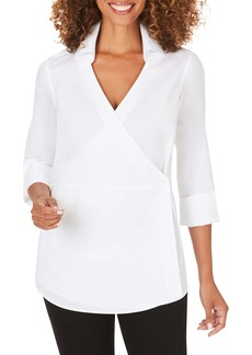 Foxcroft Solista Wrap Front Stretch Cotton Blend Blouse