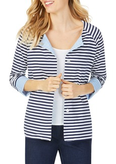Foxcroft Stefania in Stripe Mixed Media Top