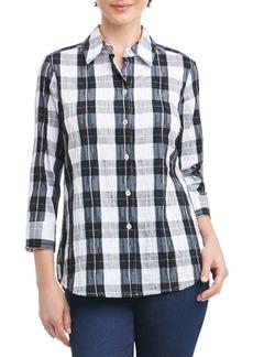 Foxcroft Sue Shaped Fit Crinkle Plaid Shirt (Regular & Petite)