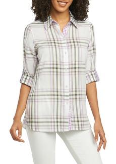 Foxcroft Tamara Herringbone Plaid Shirt