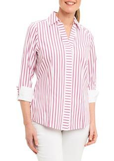 Foxcroft Taylor Non-Iron Stripe Cotton Shirt (Regular & Petite)