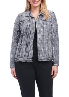 Foxcroft Tina Crinkle Gingham Jacket (Plus Size)