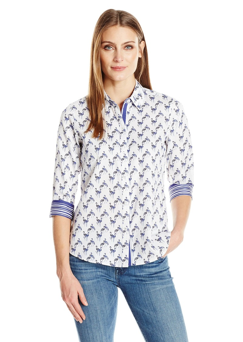 118473498db28 Foxcroft Foxcroft Women s 3 4 Sleeve Ava Flamingo Print Shirt ...