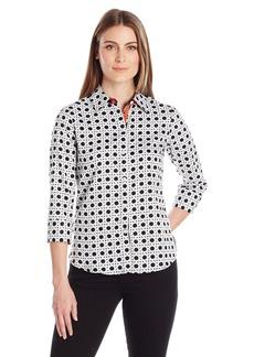Foxcroft Women's 3/4 Sleeve Ava Wicker Print Shirt