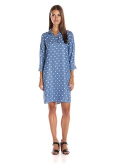 Foxcroft Women's 3/4 Sleeve Denim Tencel Dot Dress