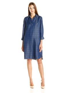 Foxcroft Women's 3/ Sleeve Indigo Geo Print Denim Tencel Dress