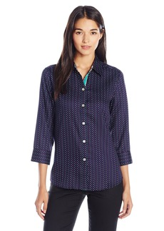 Foxcroft Women's 3/4 Printed Wrinkle Free with Contrast Sleeve Cuff