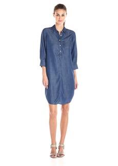Foxcroft Women's 3/4 Sleeve Solid Denim Tencel Dress