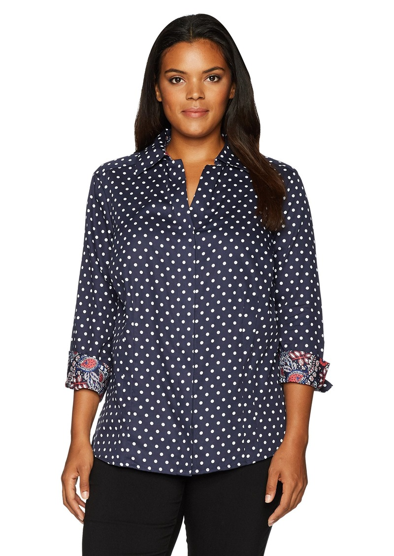 Foxcroft foxcroft women 39 s 3 4 sleeve taylor classic dot for Wrinkle free shirts for women