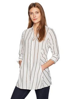 Foxcroft Women's Cici Striped Linen Tunic White/Olive