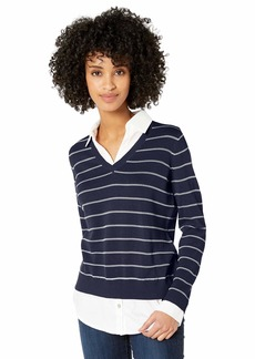 Foxcroft Women's Dana Stripe 2-fer Sweater  M