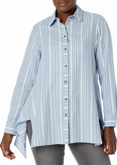 Foxcroft Women's Edison Brushed Multi Stripe Tunic DENIM BLUE