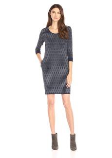 Foxcroft Women's Geo Print Kni Sweater Dress