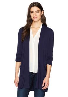 Foxcroft Women's Jillian Long Sleeve Solid Knit Open Cardigan  L
