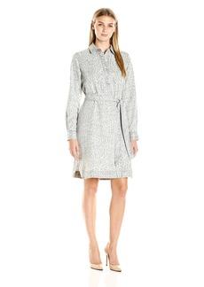 Foxcroft Women's Long Sleeve Animal Print Denim Tencel Dress