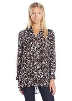 Foxcroft Women's Long Sleeve Blurred Print Maxi Tunic