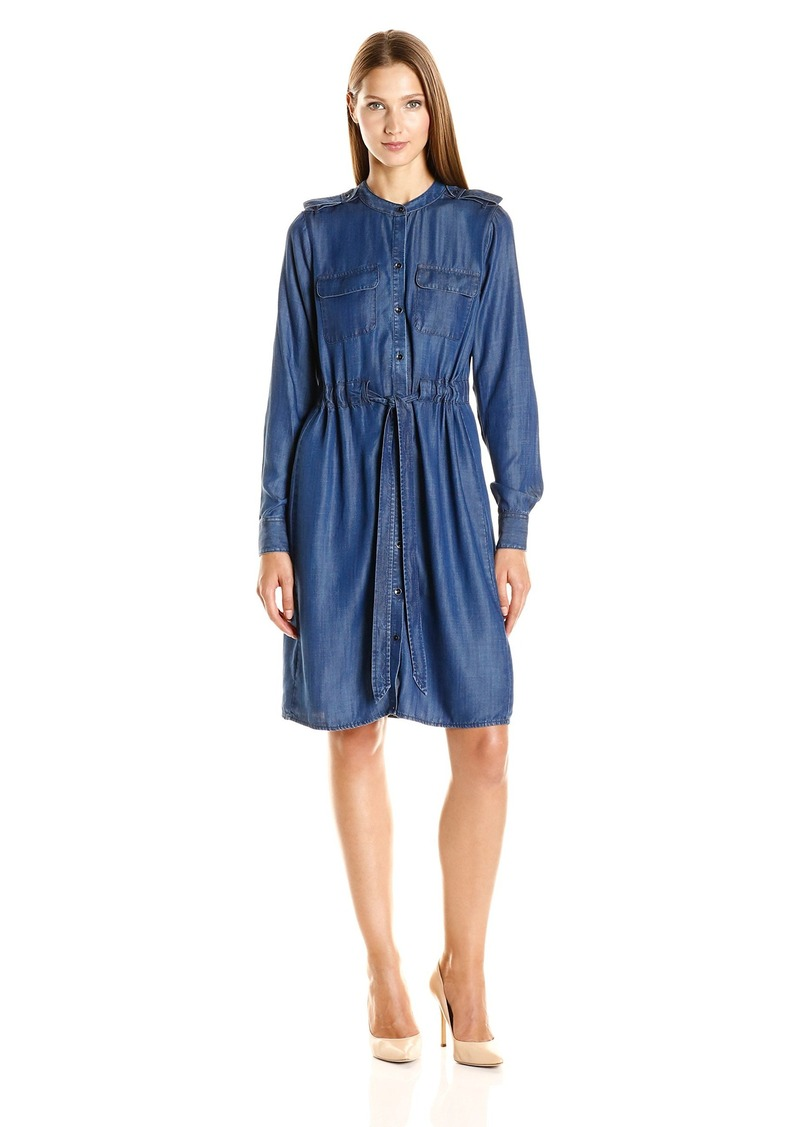 Foxcroft Women's Long Sleeve Denim Tencel Drawstring Dress