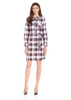 Foxcroft Women's Long Sleeve Herringbone Plaid Dress
