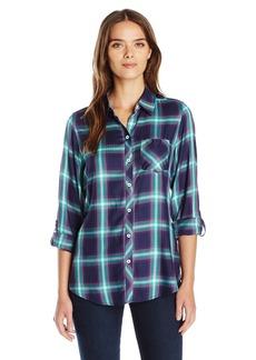Foxcroft Women's Long Sleeve Herringbone Plaid with Gingham Trim Shirt